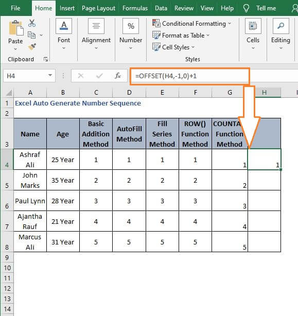 OFFSET generate sequence - Excel Auto Generate Number Sequence