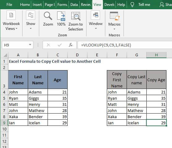 All Example VLOOKUP-Excel Formula to Copy Cell value to Another Cell