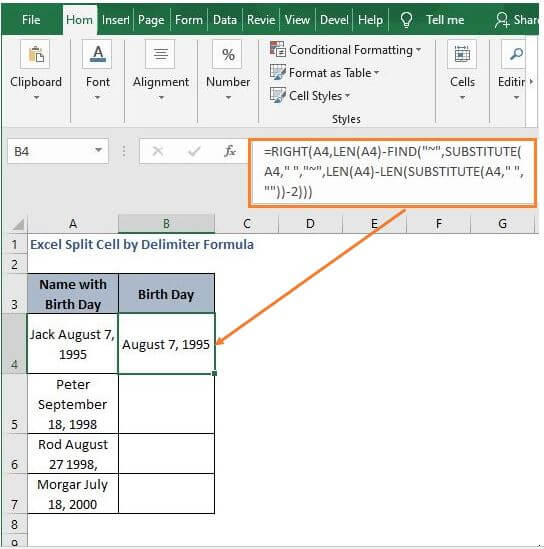 Date - Excel Split Cell by Delimiter Formula