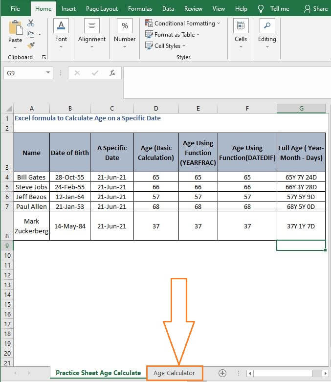 Calculator sheet - 18.Excel formula to Calculate Age on a Specific Date
