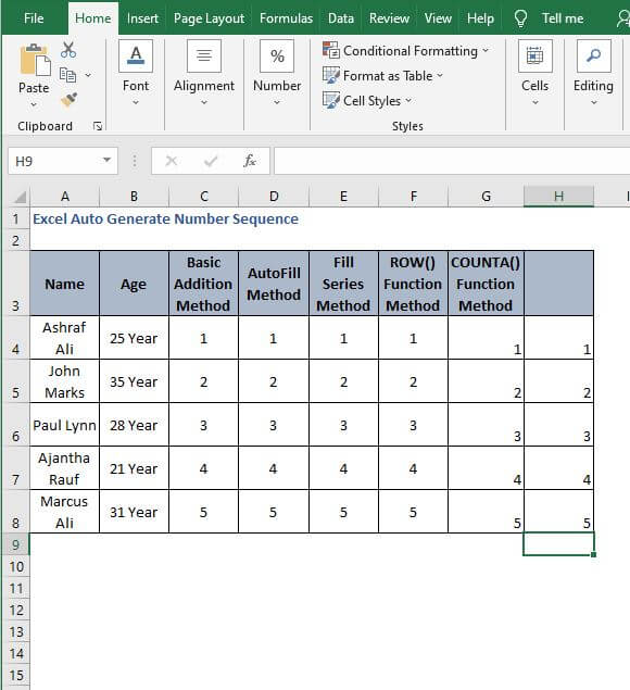 AutoFill OFFSET generate sequence - Excel Auto Generate Number Sequence