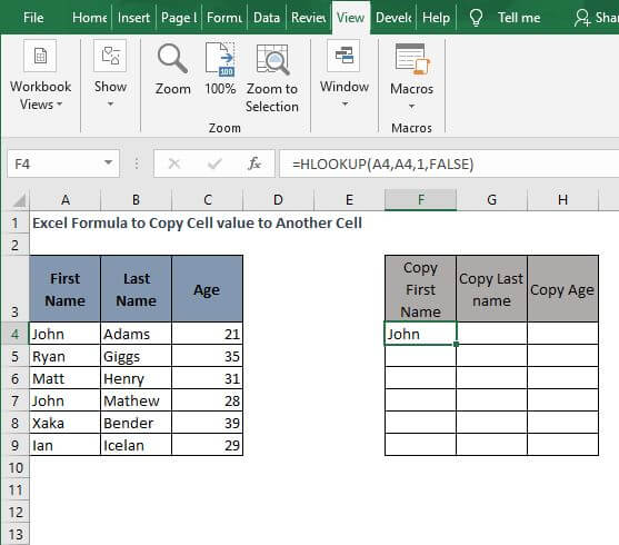 HLOOKUP-Excel Formula to Copy Cell value to Another Cell