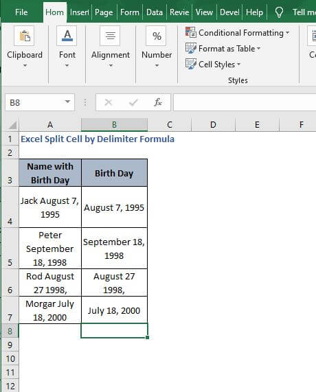 Date extract - Excel Split Cell by Delimiter Formula