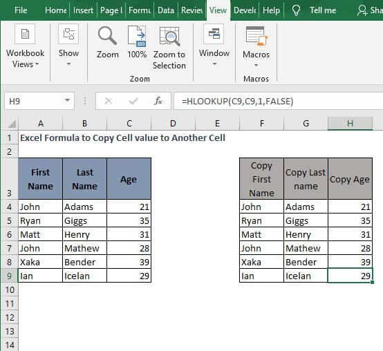 HLOOKUP 2 -Excel Formula to Copy Cell value to Another Cell