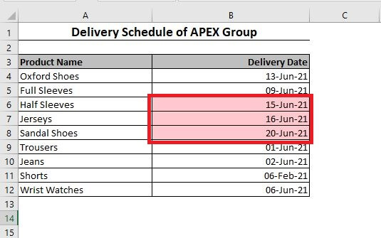 Dates within last 7 days are selected in Excel