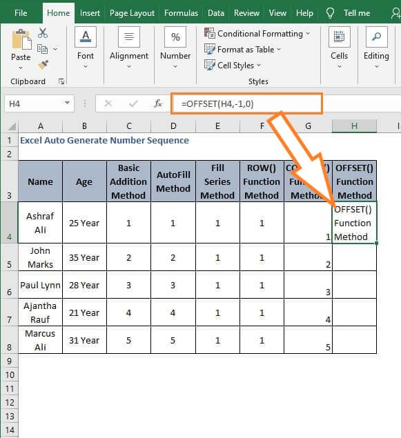 OFFSET returns value - Excel Auto Generate Number Sequence