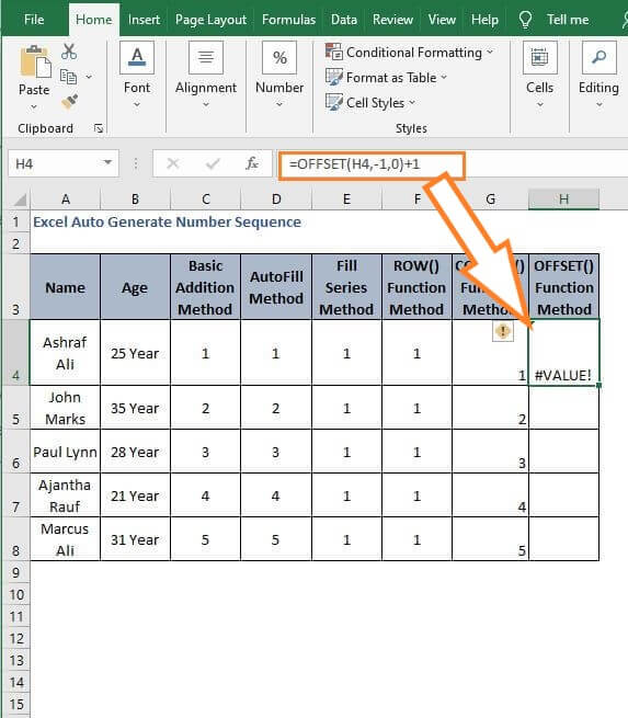 OFFSET Values sequence - Excel Auto Generate Number Sequence