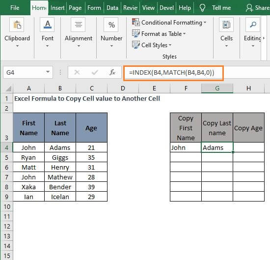 INDEX- MATCH 2 Excel Formula to Copy Cell value to Another Cell