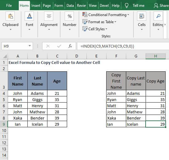 ALL - INDEX - MATCH - Excel Formula to Copy Cell value to Another Cell