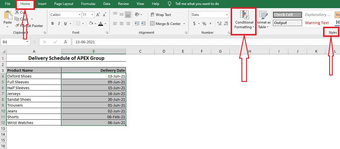 Conditional Formatting option in Excel.