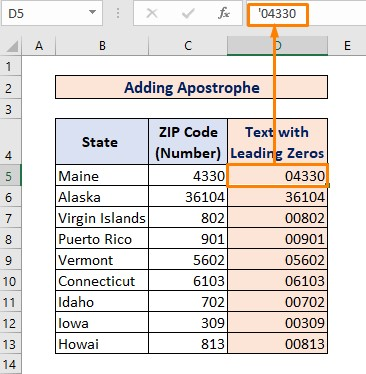 Adding Apostrophe for Converting Number to Text with Leading Zeros