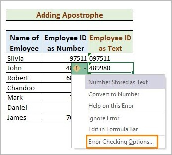 Adding Apostrophe to Store Number As Text