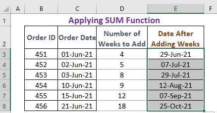 Applying SUM function to add weeks to a date in excel
