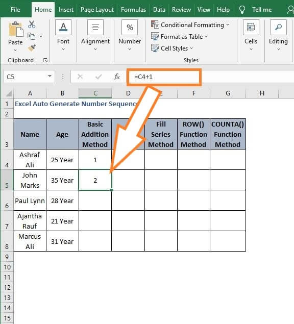 Cell reference increment - Excel Auto Generate Number Sequence