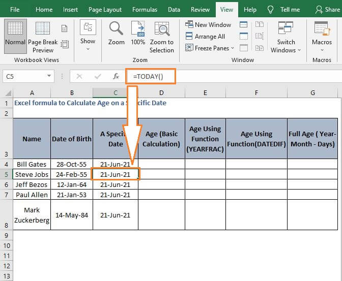Date Insert function -Excel formula to Calculate Age on a Specific Date