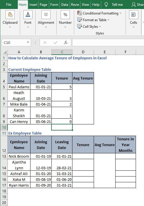 AutoFill dynamic example - How to Calculate Average Tenure of Employees in Excel