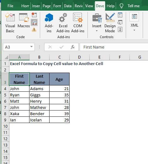Select cell - Excel Formula to Copy Cell value to Another Cell