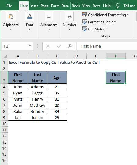 Copy Paste - Excel Formula to Copy Cell value to Another Cell