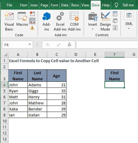 Copy with VBA - Excel Formula to Copy Cell value to Another Cell