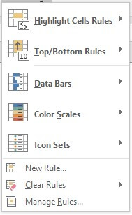 Conditional Formatting option clicked in Excel