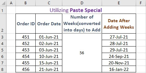 Utilizing Paste Special to add weeks to a date in excel