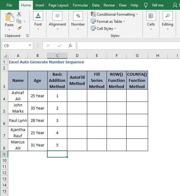 AutoFill Cell reference increment - Excel Auto Generate Number Sequence