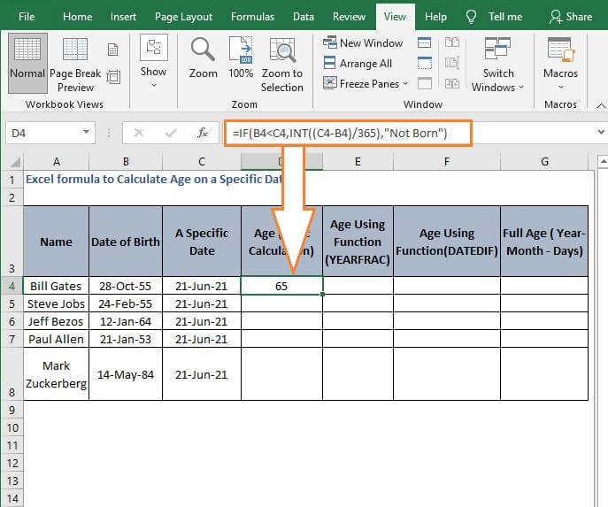 Logic before calculate age - Excel formula to Calculate Age on a Specific Date