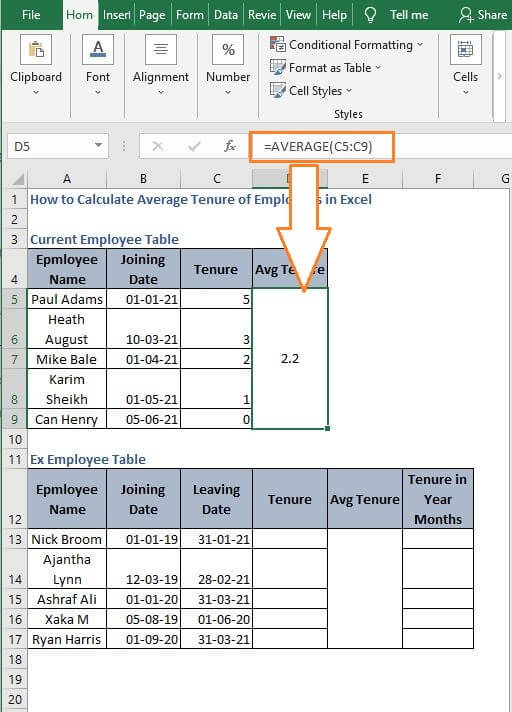 Average Dynamic Example - How to Calculate Average Tenure of Employees in Excel