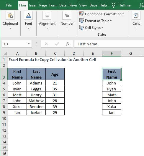 Copy Range-Excel Formula to Copy Cell value to Another Cell