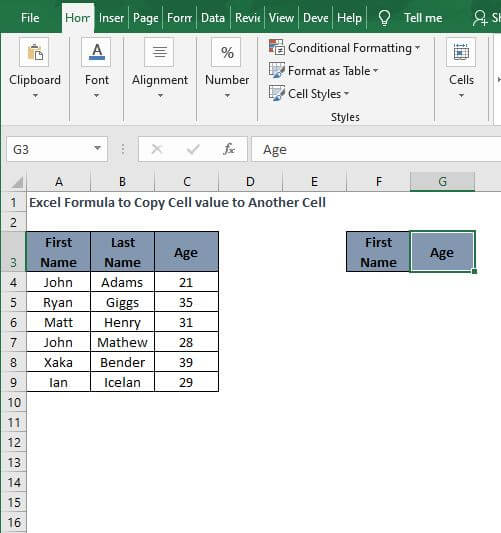 Adjacent Cell - Excel Formula to Copy Cell value to Another Cell