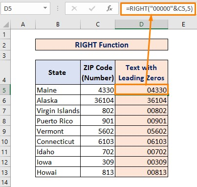 RIGHT Function for Converting Number to Text with Leading Zeros