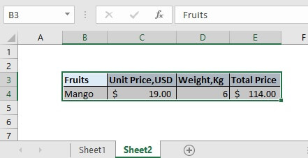 Paste the copied data into new worksheet sheet2. Then all the selected data will be copied from sheet1 to sheet2