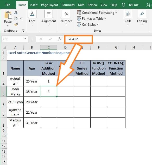 Increment 2 - Excel Auto Generate Number Sequence