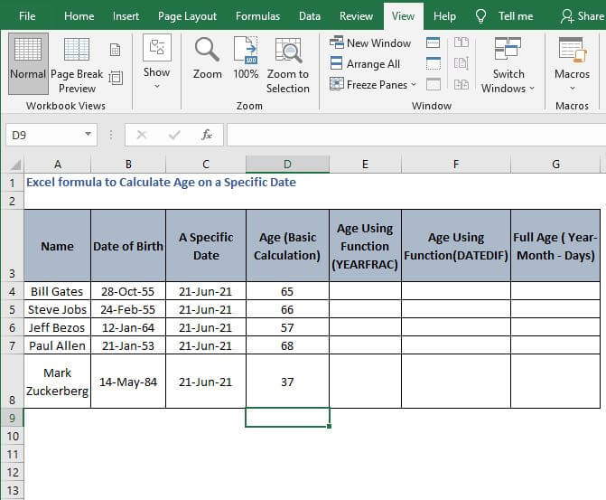 AutoFill age - Excel formula to Calculate Age on a Specific Date