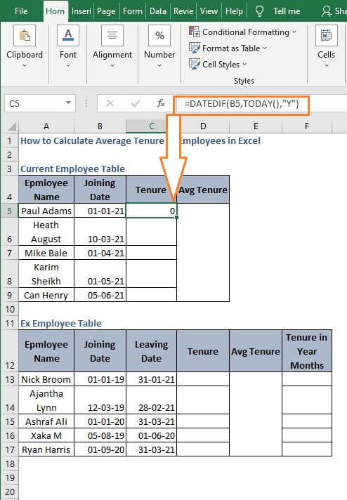 Year form Dynamic example - How to Calculate Average Tenure of Employees in Excel