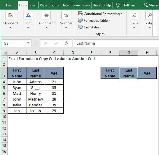 Between cells - Excel Formula to Copy Cell value to Another Cell