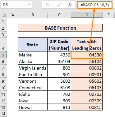 BASE Function for Converting Number to Text with Leading Zeros
