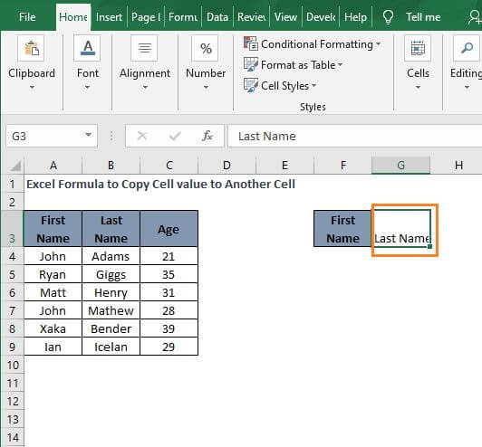 Values only - Excel Formula to Copy Cell value to Another Cell