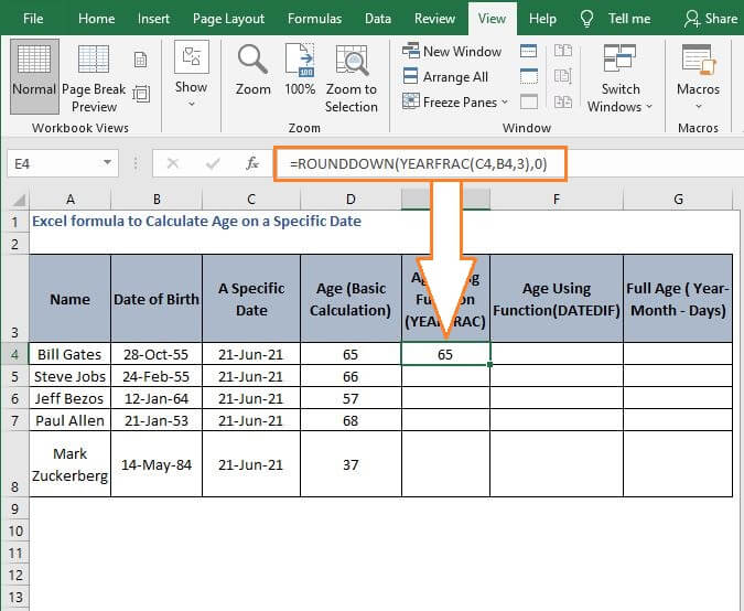 YEARFRAC age calculation - Excel formula to Calculate Age on a Specific Date