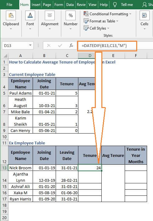 Static Example tenure - How to Calculate Average Tenure of Employees in Excel