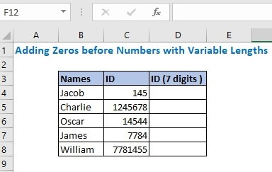Adding Zeros before Numbers with Variable Lengths