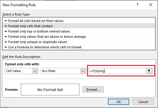 Enter the formula =TODAY() in the marked box