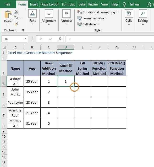 Fill Handle Marked- Excel Auto Generate Number Sequence