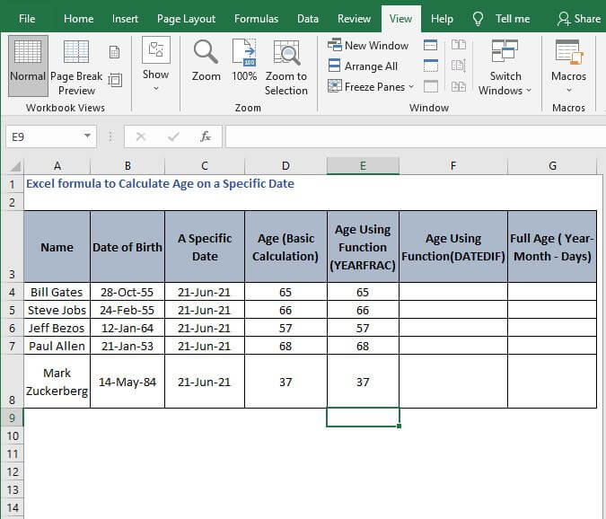 AutoFill age calculation - Excel formula to Calculate Age on a Specific Date