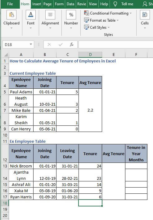 AutoFill in static example - How to Calculate Average Tenure of Employees in Excel