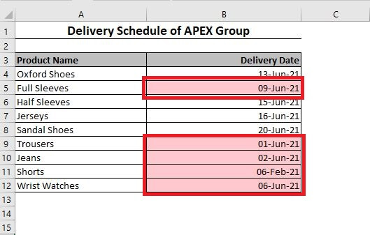 Dates less than a particular date are selected in Excel