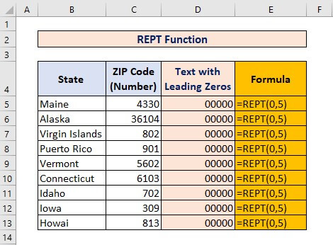 REPT and LEN function for Converting Number to Text with Leading Zeros