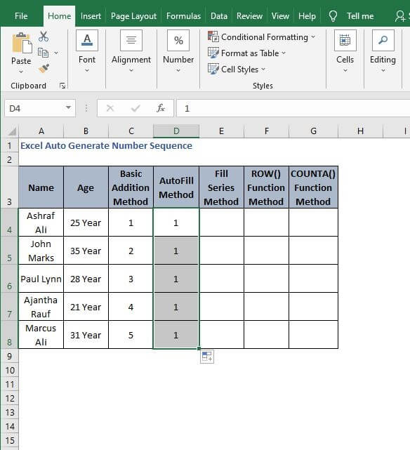 Fill Handle goes wrong - Excel Auto Generate Number Sequence