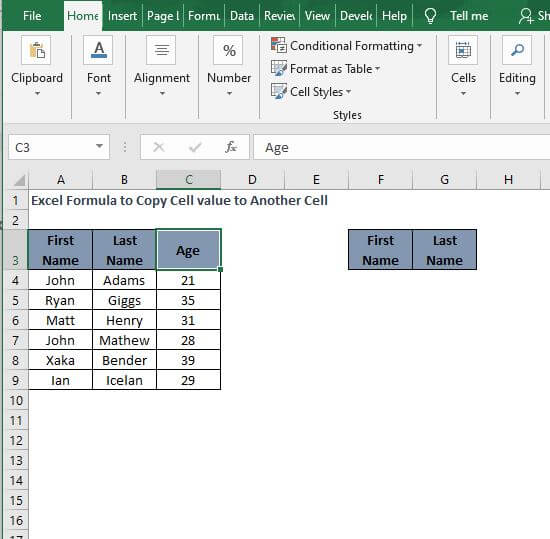 Paste format - Excel Formula to Copy Cell value to Another Cell