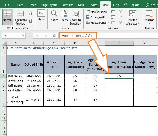 DATEDIF age Calculation - Excel formula to Calculate Age on a Specific Date